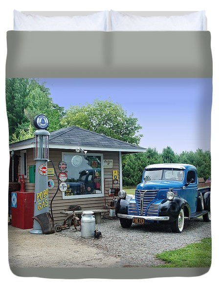 Vintage Truck And Filling Station Duvet Cover by Judy  Johnson