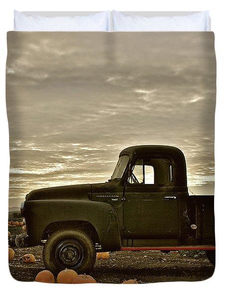 Vintage Truck Two In Pumpkin Graveyard Duvet Cover