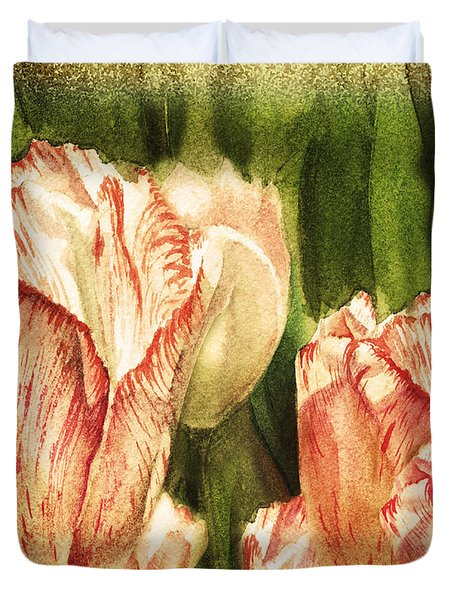 Vintage Tulips Watercolor Art Duvet Cover