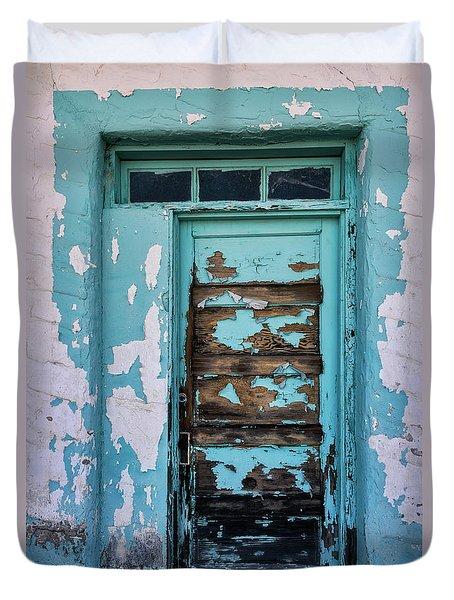 Duvet Cover featuring the photograph Vintage Turquoise Door  by Saija Lehtonen