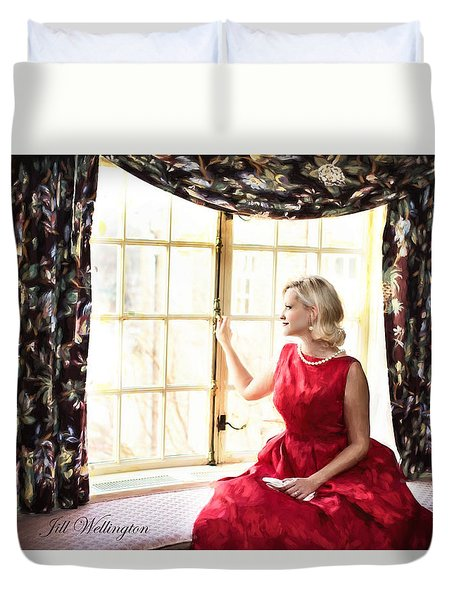 Vintage Val Home For The Holidays Duvet Cover