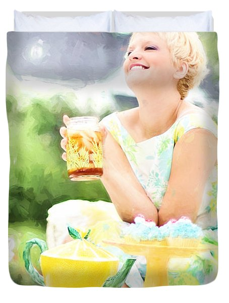 Vintage Val Iced Tea Time Duvet Cover