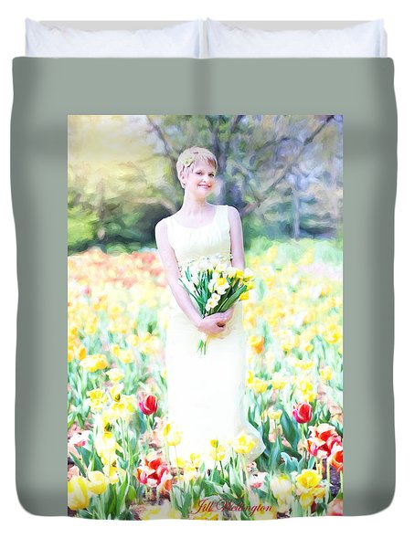 Vintage Val Spring Tulips Duvet Cover by Jill Wellington