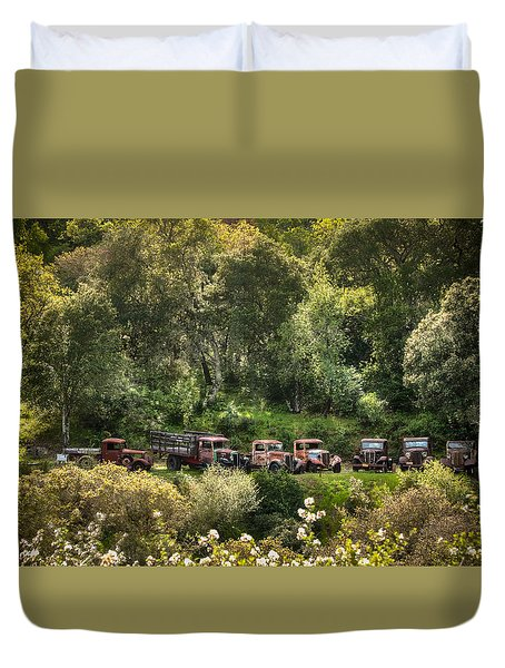 Vintage Vehicles In The Spring Duvet Cover
