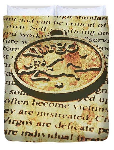 Vintage Virgo Token Scroll Duvet Cover