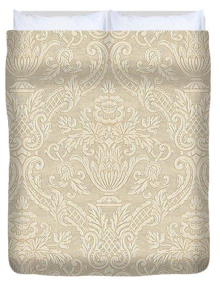 Vintage Wallpaper Beige Floral Elegant Damask Duvet Cover