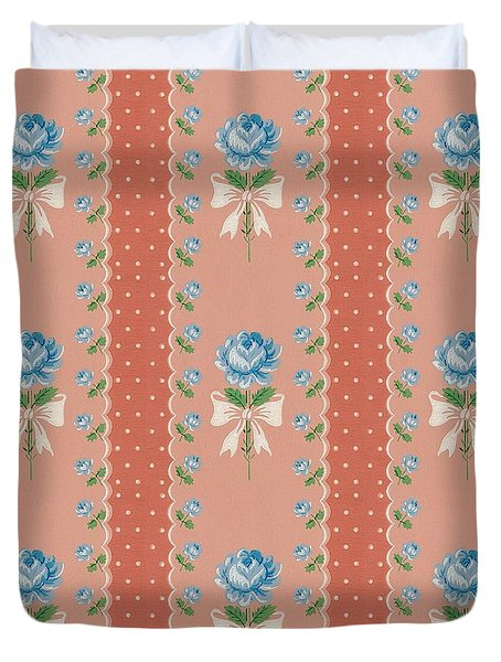 Duvet Cover featuring the digital art Vintage Wallpaper Blue Roses Coral Polka Dots by Tracie Kaska