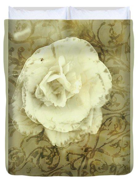 Vintage White Flower Art Duvet Cover