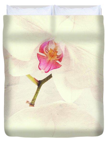 Vintage White Orchids Duvet Cover
