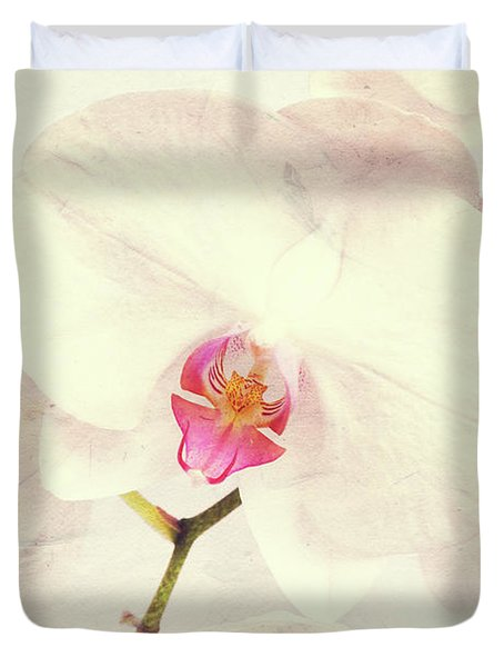 Vintage White Orchids Duvet Cover