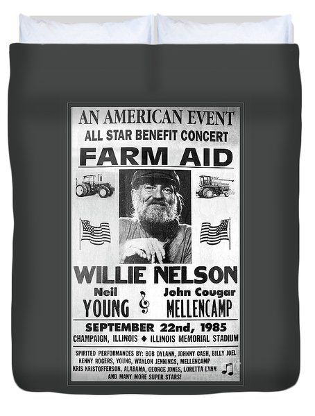 Vintage Willie Nelson 1985 Farm Aid Poster Grayscale Duvet Cover