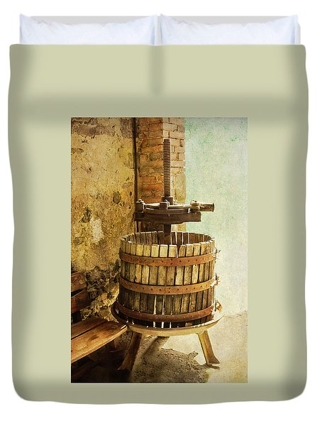 Vintage Wine Press Duvet Cover