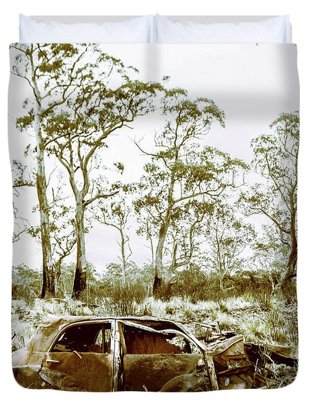 Vintage Winter Car Wreck Duvet Cover