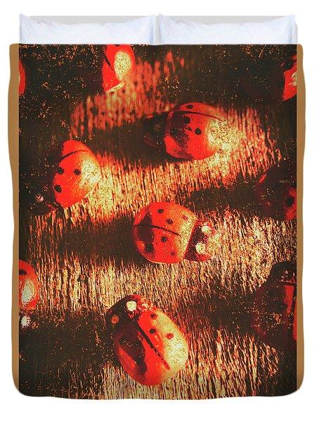 Vintage Wooden Ladybugs Duvet Cover