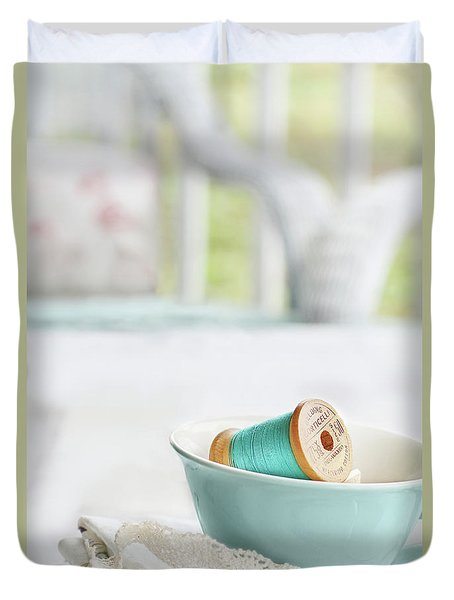 Vintage Wooden Spools Of Thread In Vintage Tea Cup Duvet Cover