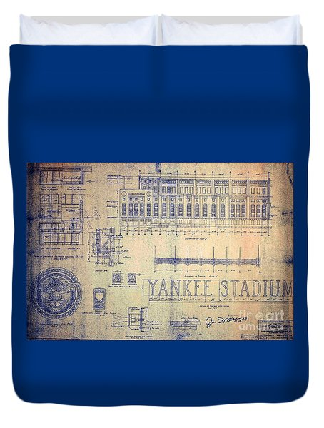 Vintage Yankee Stadium Blueprint Duvet Cover
