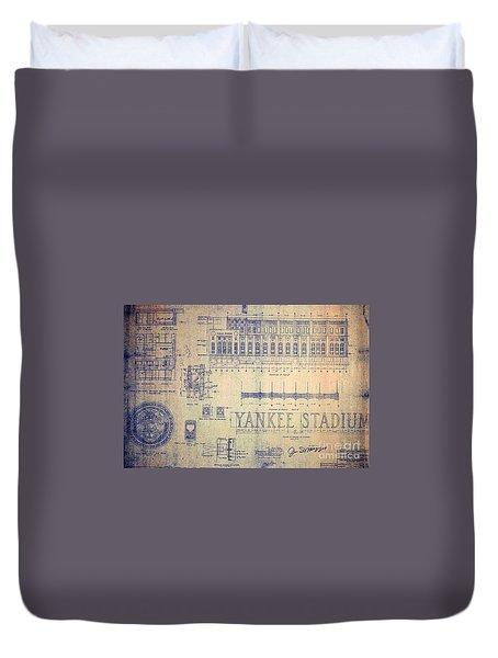 Vintage Yankee Stadium Blueprint Signed By Joe Dimaggio Duvet Cover