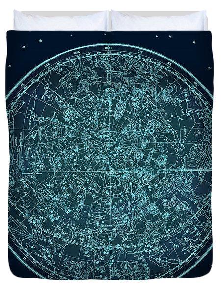 Vintage Zodiac Map - Teal Blue Duvet Cover