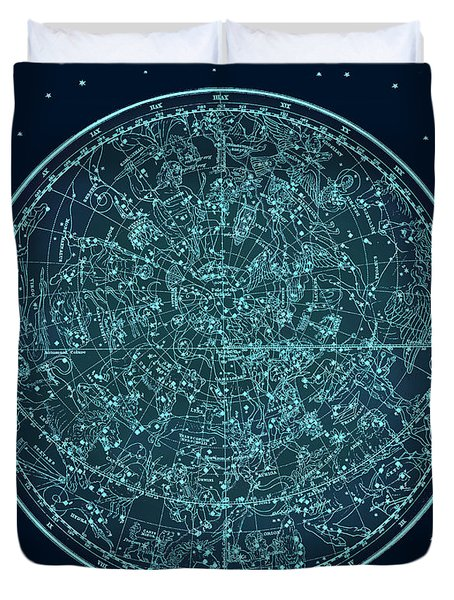Vintage Zodiac Map - Teal Blue Duvet Cover