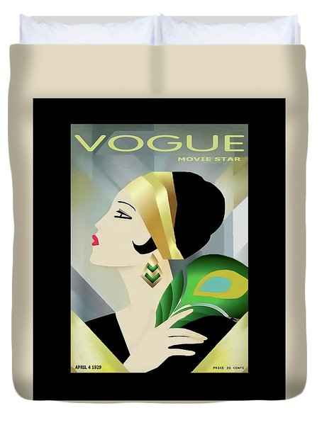 Vinttage Vogue Cover April 1929 Duvet Cover