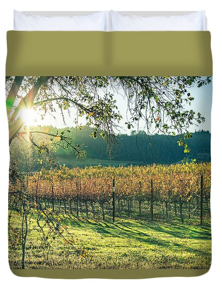 Vinyard Sunset Duvet Cover by Kim Wilson