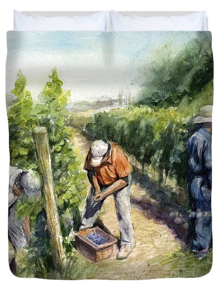 Vineyard Watercolor Duvet Cover