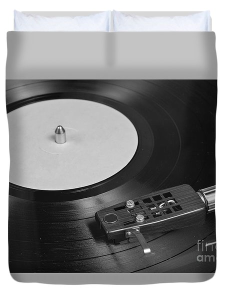 Vinyl Record Playing On A Turntable Overview Duvet Cover