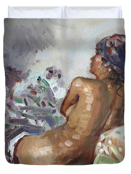 Nude In Violet Duvet Cover