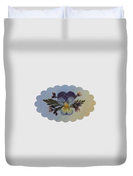 Viola Pressed Flower Arrangement Duvet Cover