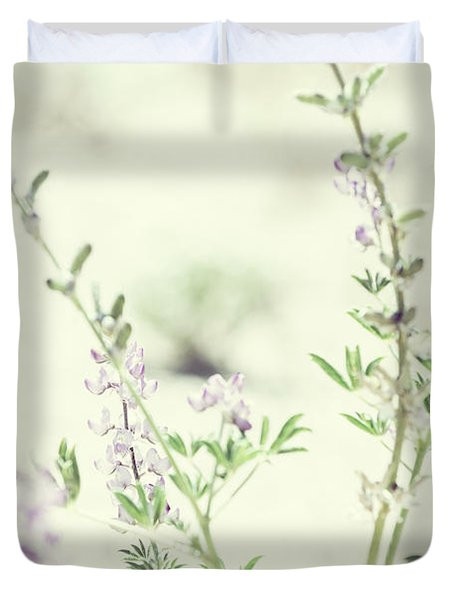 Violet And Green Bloom Duvet Cover by Amyn Nasser
