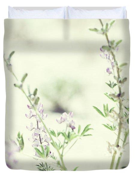 Violet And Green Bloom Duvet Cover