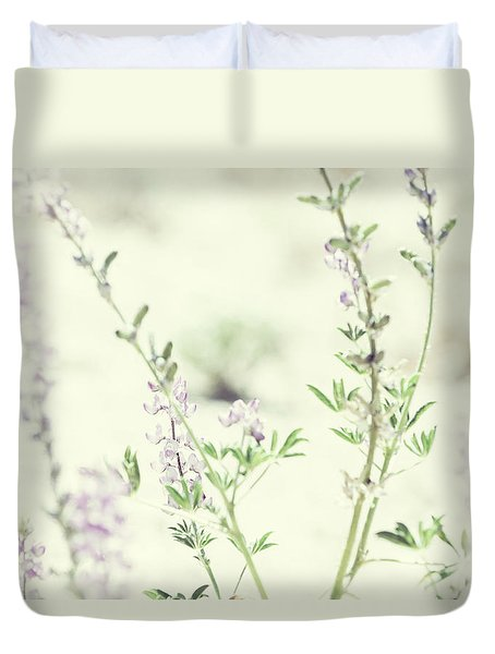 Violet And Green Bloom Duvet Cover