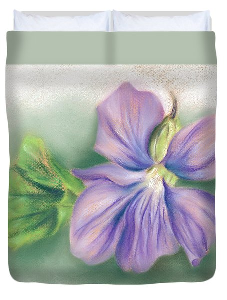 Violet And Leaf Duvet Cover