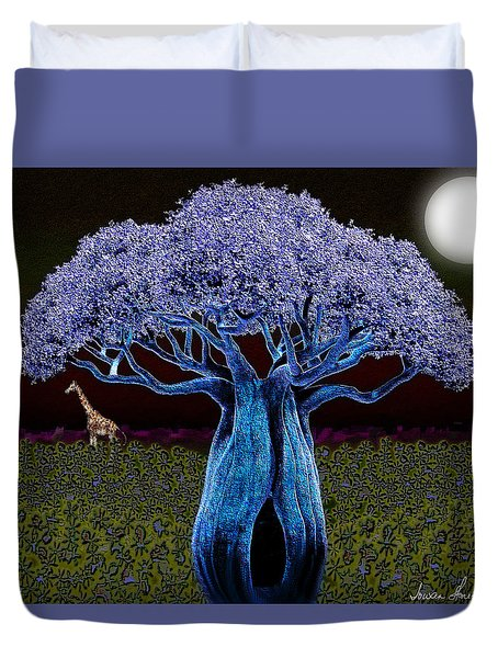 Violet Blue Baobab Duvet Cover by Iowan Stone-Flowers