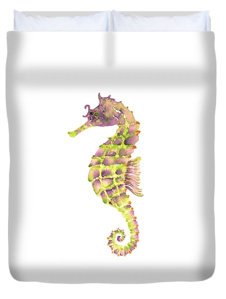 Violet Green Seahorse - Square Duvet Cover by Amy Kirkpatrick