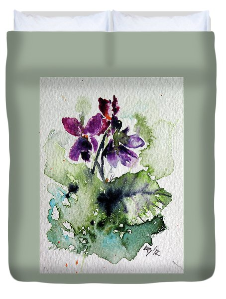 Duvet Cover featuring the painting Violet Iv by Kovacs Anna Brigitta