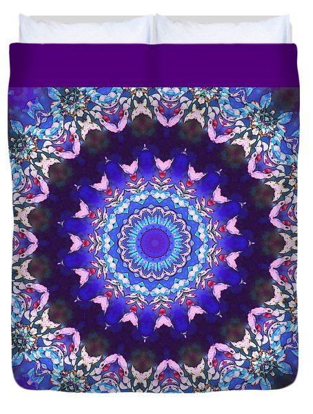 Duvet Cover featuring the digital art Violet Lace by Shawna Rowe