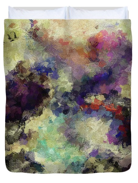 Duvet Cover featuring the painting Violet Landscape Painting by Ayse Deniz
