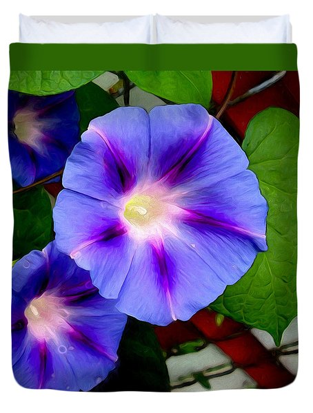 Duvet Cover featuring the photograph Violet Morning Glories by Shawna Rowe