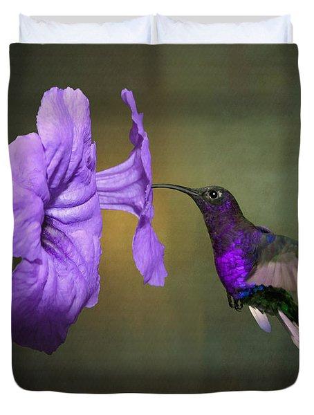 Violet Sabrewing Hummingbird Duvet Cover