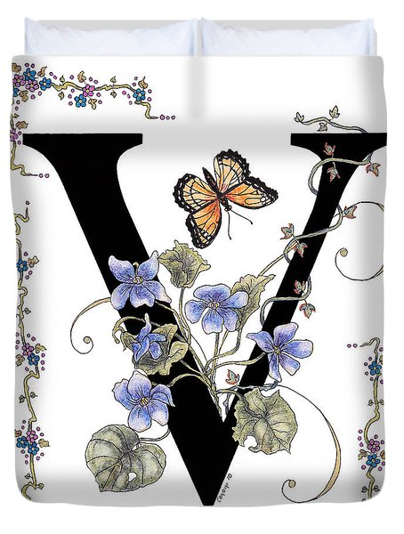 Violets And A Viceroy Butterfly Duvet Cover