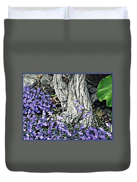 Violets At My Feet Duvet Cover by Sarah Loft