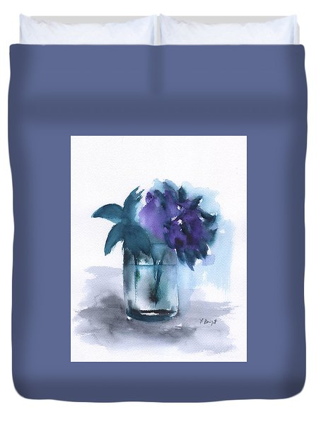 Violets In A Glass Abstract Duvet Cover