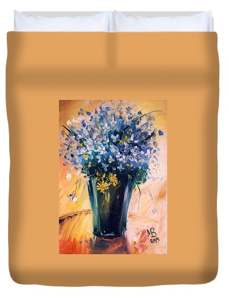 Duvet Cover featuring the painting Violets by Mikhail Zarovny