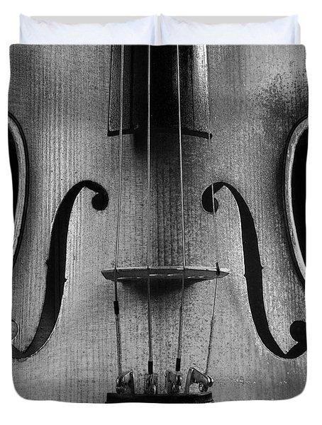 Violin # 2 Bw Duvet Cover