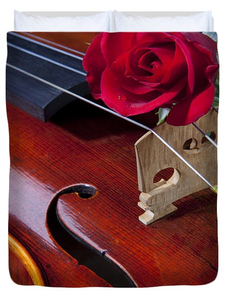 Violin And Red Rose Duvet Cover by M K  Miller