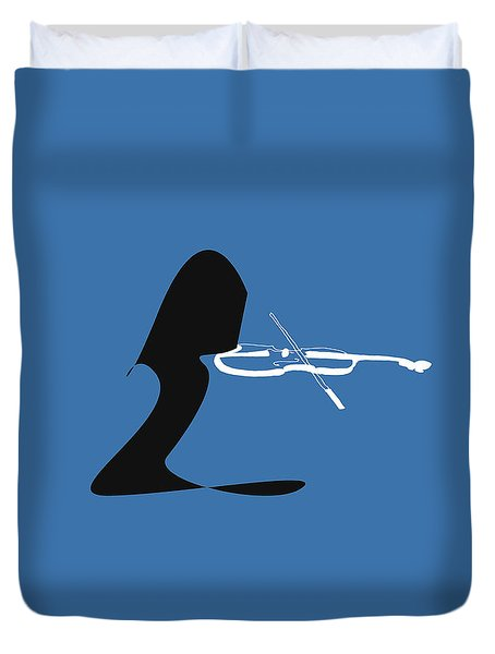Violin In Blue Duvet Cover by David Bridburg