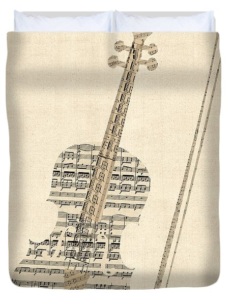 Violin Old Sheet Music Duvet Cover