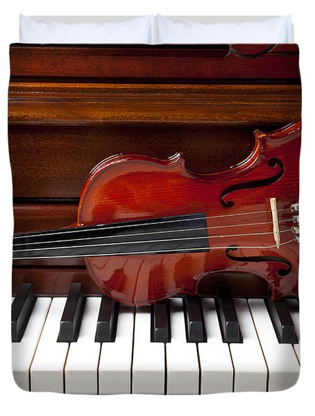 Violin On Piano Duvet Cover