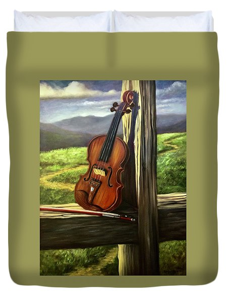 Duvet Cover featuring the painting Violin by Randol Burns